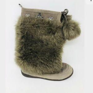 Gap Girls Size 5 Brown Furry Pom Pom Tall Boots